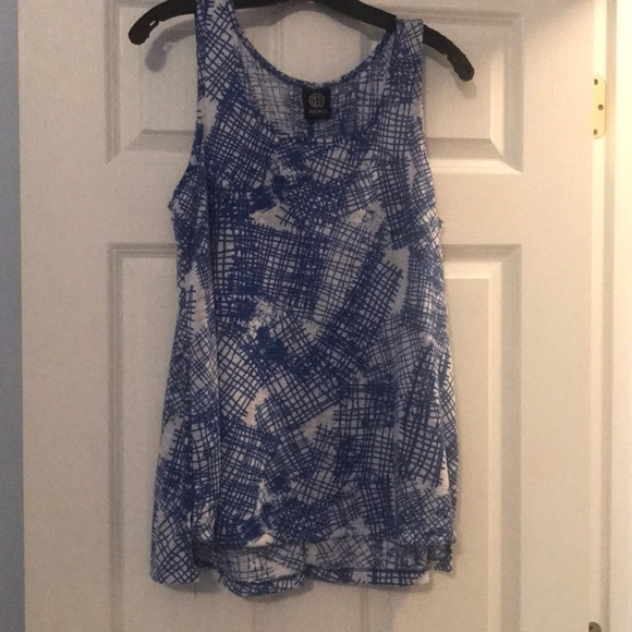 bobeau Tops - Size Large blue and white knit tank top
